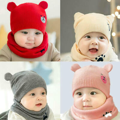 Toddler Girls Boys Infant Warm Winter Knit Beanie Ball Hats Scarf and Cap Hot