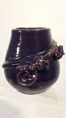 Purple Vase With Branch Decoration Signed