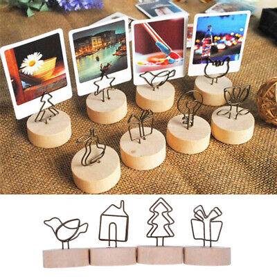 Memo Card Photo Frame Picture Clip Message Left Supporter Round Wooden Holder