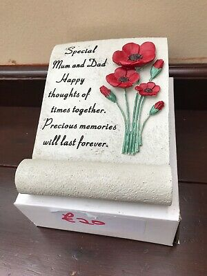 Red Rose Scroll Memorial  Remembrance Plaque Tribute