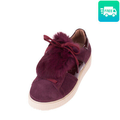 RRP €120 ANDREA MORELLI Leather Sneakers Size 34 UK 2 US 3 Patent Made in Italy