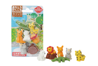 Set of 3 IWAKO Animal Puzzle Eraser Rubber Blister Packs Forest Zoo Safari