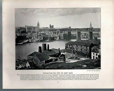 Newcastle On Tyne, From The Rabbit Banks. Victorian Print From 1900 For Framing