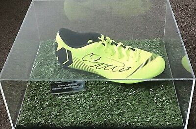 Cristiano Ronaldo Authentic Signed Football Boot In Acrylic Case Aftal#198