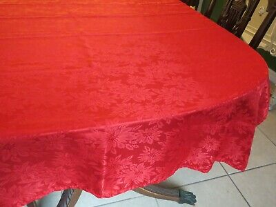 Red Poinsettia Tablecloth Damask 68 x 52 Christmas Oblong