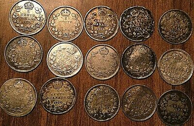 Lot Of 15 Canada Silver 5 Cents Lot Of 15 Coins