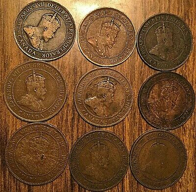 1902 To 1910 Set Of Edward Vii Canada Large Cents (9 Coins)