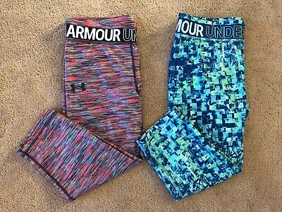 Under Armour Girl's Printed Capri Leggings 1305645 Size M, L, XL $35 NWT