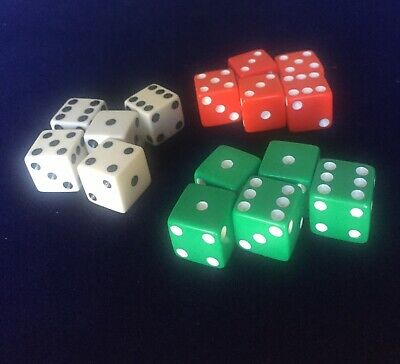 Vintage Magic Trick Apparatus 15 Dice, Green White Red Devils With Instructions