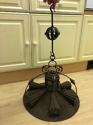 Antique Victorian Cast Iron And Stained Glass Lamp