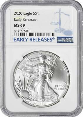 2020 American Silver Eagle Dollar MS69 Early Releases NGC