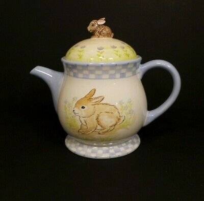 Ceramic Easter Egg Shaped Teapot With Rabbit Ears Lid Made By Connections 24 99 Picclick