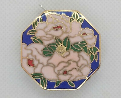 Chinese Cloisonne Enamel Floral Tape Measure 100 Inches White Flowers Blue Asian