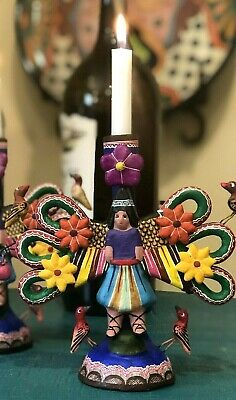 Angel TREE OF LIFE Candlestick Mexican Folk Art by Saul Montesinos, SIGNED