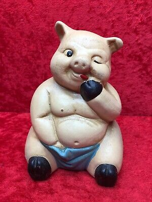 """Awesome Ceramic Pig Coin Bank Piggy Bank 5-1/2"""" Tall"""
