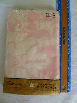 2 Vtg. NOS Fieldcrest Percale Pink & Creamy White Royalty Pillowcases Standard