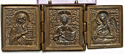 Russian Orthodox travel icons triptych bronze castings, without enamel, Deesis R