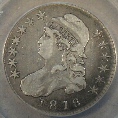 1818/7 Large 8 Capped Bust Half Dollar 50c O-101a ANACS Certified F15