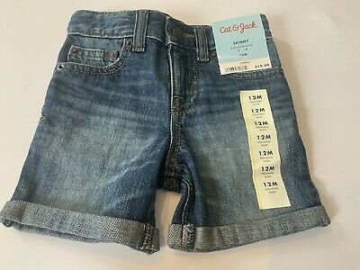 Cat & Jack Boys Girl's Baby Toddler Skinny Shorts Denim Blue Jeans Size 12 Mos