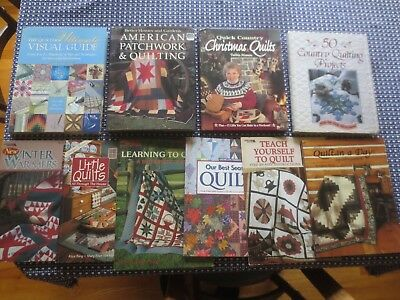 Collection of 10 QUILTING CRAFT PATTERN BOOKS - 4 Hardcover & 6 Softcovers
