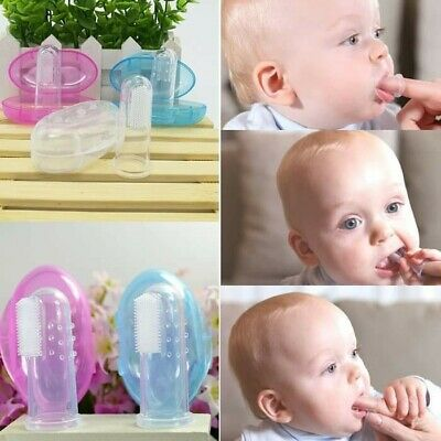 Baby Kid Soft Silicone Finger Toothbrush Gum Massager Brush Clean Teeth With Box