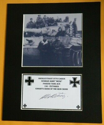 Otto Carius German Panzer Tank Ace 150 Victories Signed Knight's Cross 502nd HPB
