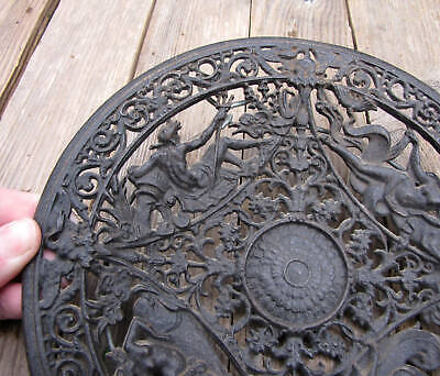 Old Ornate Greek God Cast Iron Wall Plaque Plate / Dish