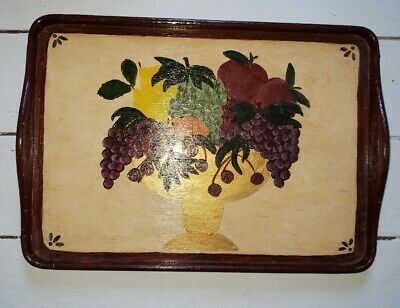 Vintage Hand Made Country Folk Art Wooden Tray Hand Painted Fruit Bowl