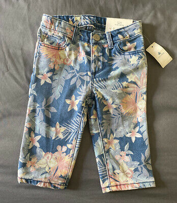 Toddler Girl Size 2 2T Baby Gap Tropical Floral Straight Cropped Denim Jeans