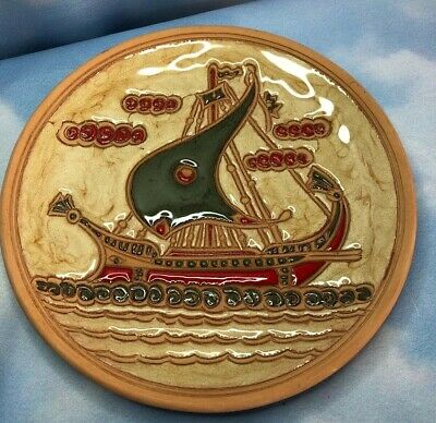 Vikings Ship Plate Rhodes Greece Bonis Greek Pottery Glazed Terracotta Signed
