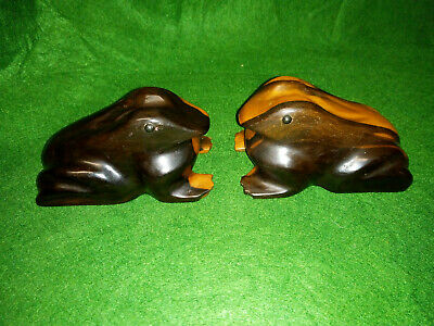 Pair of Vintage Hand Carved Solid Wooden Hardwood Frogs