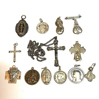 Lot of 13 Vintage Sterling Silver Religious Catholic Medals Cross Charms Pin