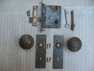 Antique Eastlake Door Knobs & Backplates with Mortise Lock Set and Key