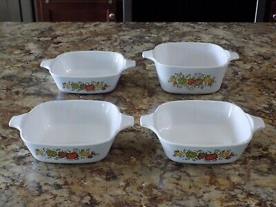Corning Ware Spice of Life 1  P-43-B and 3  P-41-B Petite Pan Casserole Dishes