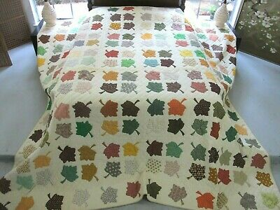KING Vintage Signed & Dated 1977 MAPLE LEAF Applique Quilt, All Cotton Hand Sewn