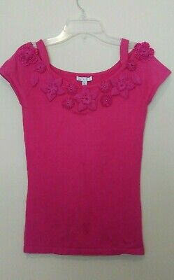 CACHE Silk Cotton Spandex Knit Top Raspberry Stretched Size S