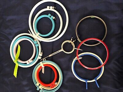 LOT of 13 plastic Tension Embroidery hoops Needlepoint Cross Stitch multi size