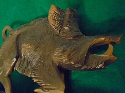 terrific antique black forest detailed pecan carved boar