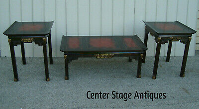 60467  Asian 3 piece Leather Top Coffee Table w/ 2 End Tables