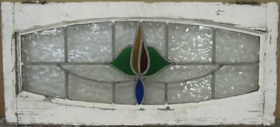 "OLD ENGLISH LEADED STAINED GLASS WINDOW TRANSOM Arched Floral 32.25"" x 14.5"""