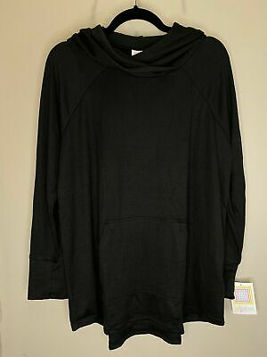 LuLaRoe XL Amber - Hacci Light Hoodie  - Solid Black - Extra Large