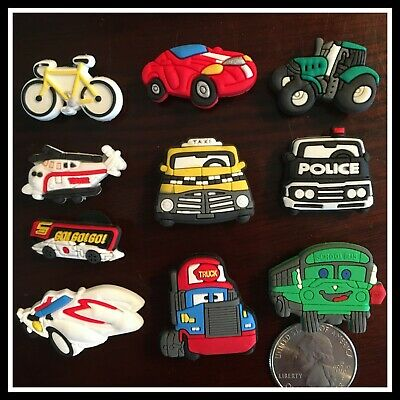10 Shoe Charms for Crocs POLICE CAR TRUCK TAXI BICYCLE HELICOPTER SPEED RACER