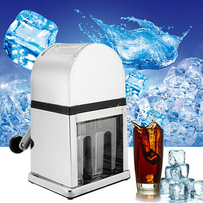 Stainless Steel Manual Ice Shaver Home Bar Snow Cone Maker Crusher Slush  .