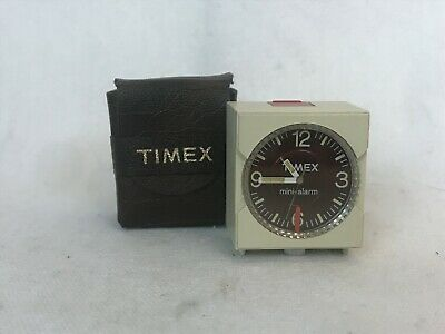 Vintage Timex Miniature (Teeny Tiny) Traveling Alarm Clock with Case