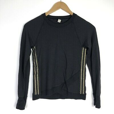 Athleta Girl Size M 8-10 Long Sleeve Pullover Sweater Top Black Gold Sparkle