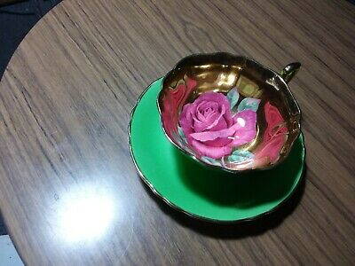 Paragon Teacup And Saucer - Green & Gold With Large Pink Rose