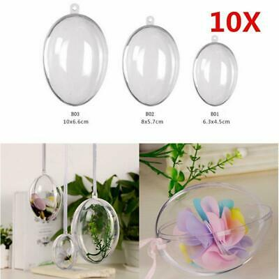 10X Clear Fillable Candy Box Christmas Bauble Xmas Tree Ball Ornament Decor JXUK
