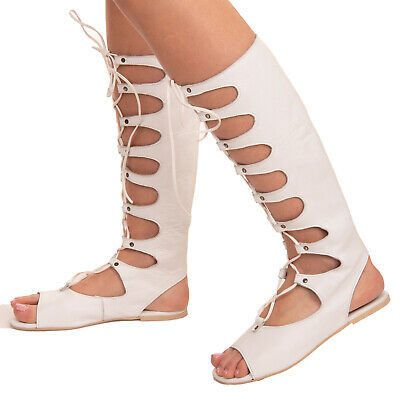 RRP €185 UNLACE Leather Knee High Gladiator Sandals EU37 UK4 US6.5 Made In Italy