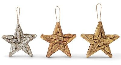 Mud Pie Driftwood Copper Gold and Silver Foil Stars Holiday Ornaments Set of 3