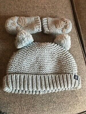 Joules Hat And Mittens Set Blue